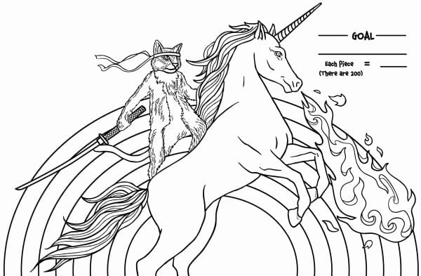 Samurai Cat Riding A Fire-Breathing Unicorn