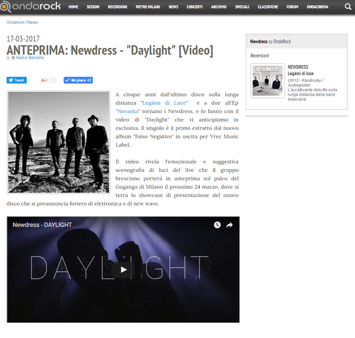 DAYLIGHT - ANTEPRIMA VIDEO SU ONDAROCK.IT