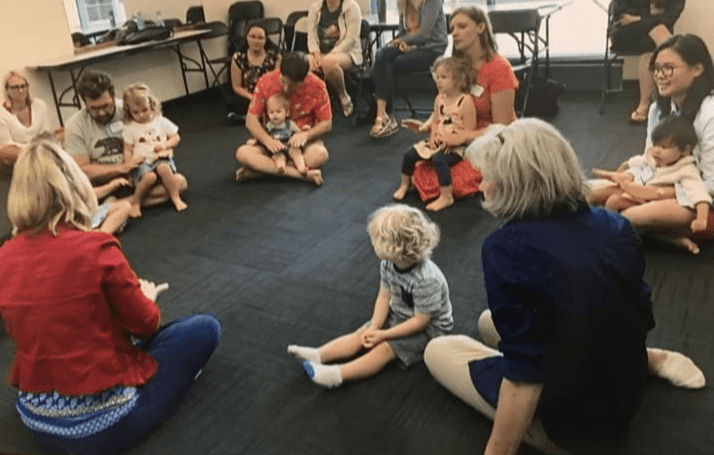 Babies, toddlers, and caregivers enjoying SECE classes