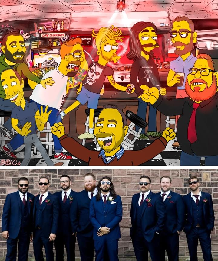 CustomGroomsmen Wedding Caricature- Simpsons Digital StyleFunny  Cartoon