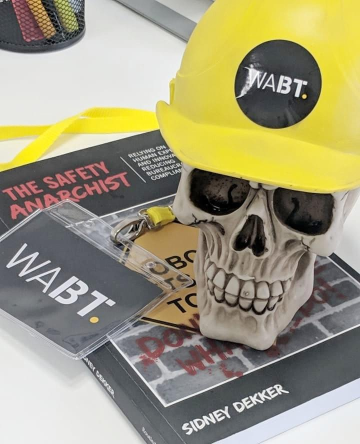 Skull with hard hat book Internal Comms Safety Anarchist. Skull wearing hard hat and lanyard sitting on black book.