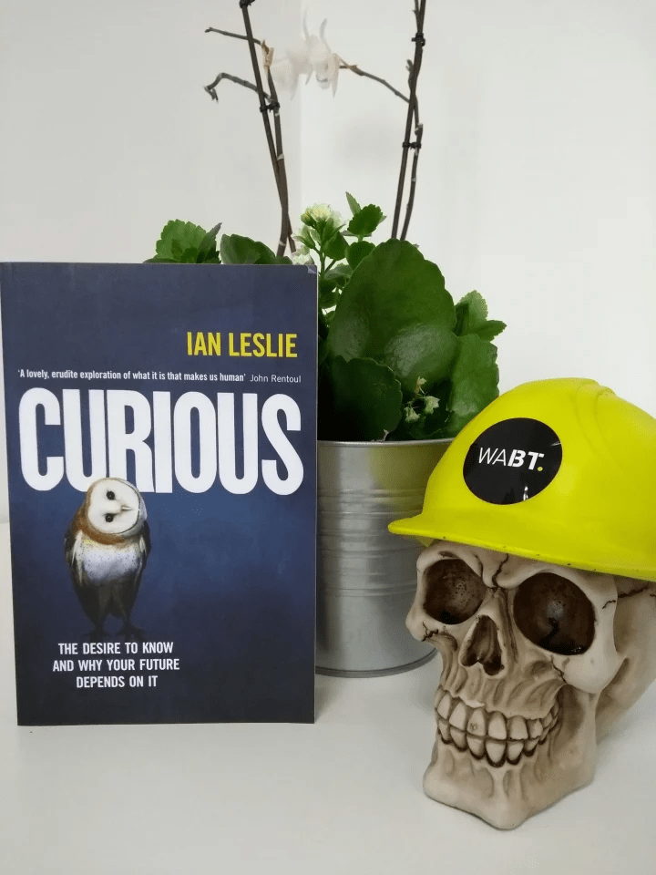 We Are Brass Tacks. Internal comms agency. Fred the Head. Book of the month. Curious. Skull with hard hat sitting beside plant pot and blue book