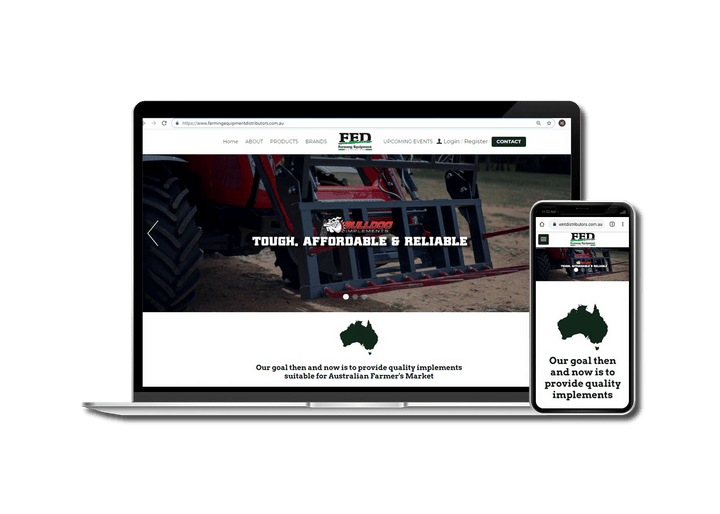 A Picture of Farming Equipment Distributors Website on a Laptop and Phone.