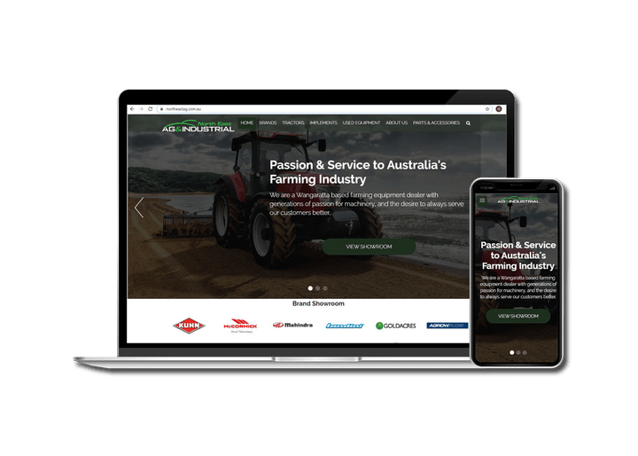 A Picture of NorthEast Ag Industrial Website on a Laptop and Phone.