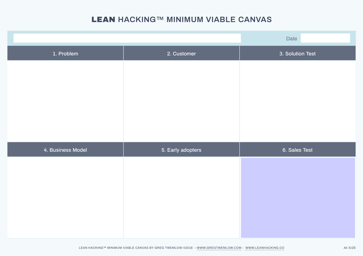 LEAN Hacking Canvas by Greg Twemlow