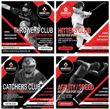 Player Development Clubs - Throwers, Hitters, Catchers, Agility / Speed