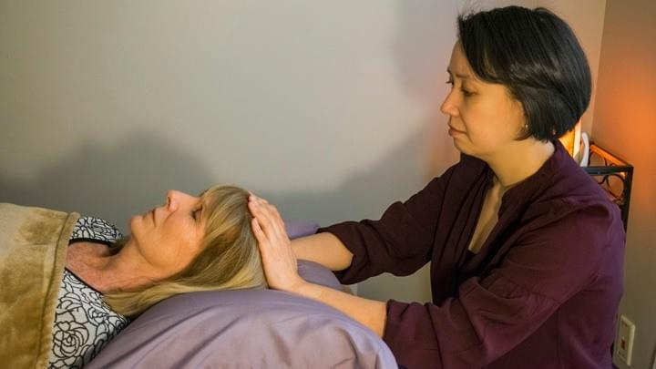 Thrive Reiki treatment room at Amethyst Integrative Massage in White Plains, NY.