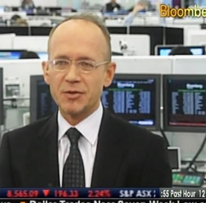 Christian Masset speaking in a bloomberg interview broadcasted on television