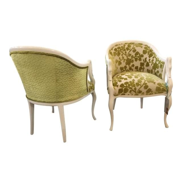 Mid-Century White Green Occasional Chairs Dallas TX