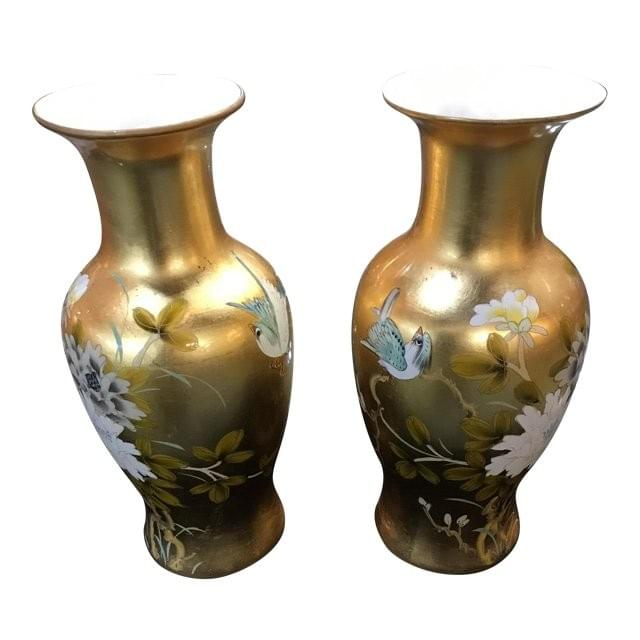 Water Lilly Pattern Vases Gold Dallas TX