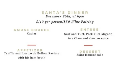 Santa's  dinner ViV Wine bistro Menu