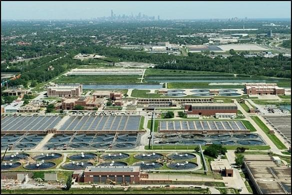 Birdseye view of the Metropolitan Water Reclamation District of Great Chicago's wastewater treatment plant