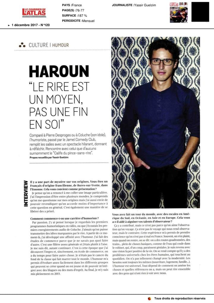 Haroun Interview Courrier Atlas