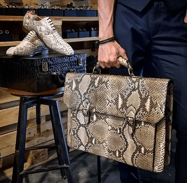 Python attache briefcase to match python skin shoes