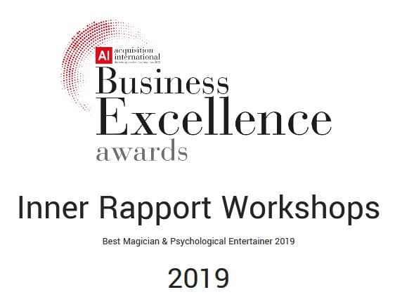 Inner Rapport Workshops + Steve Drury Magician. Business Excellence Awards 2019.  Bark Professional