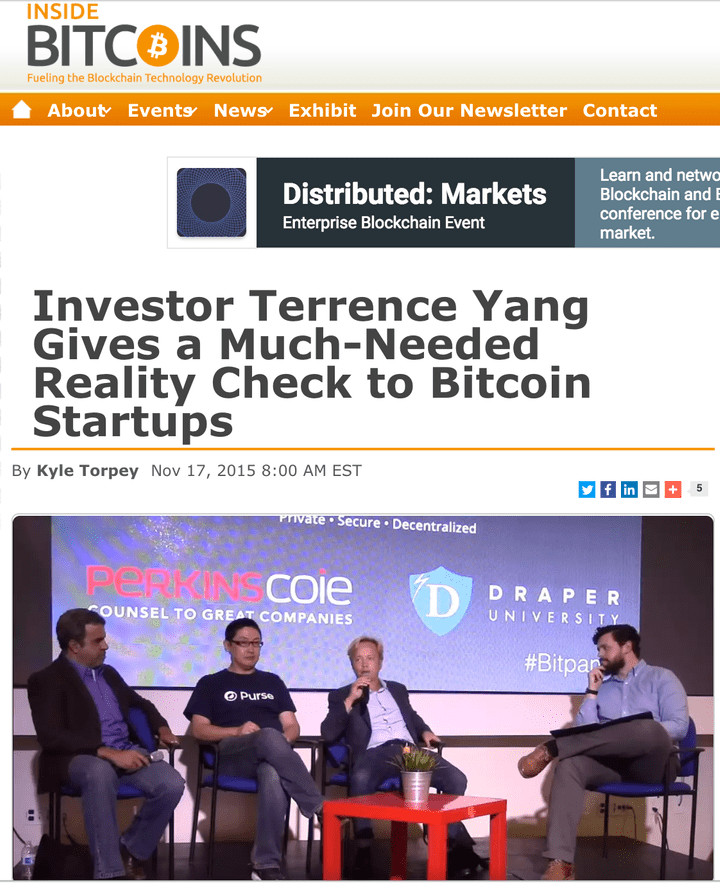 Yang Ventures Founder Terrence Yang and Blockchain Capital Managing Partner Brock Pierce are two individuals who have been talkingpublicly for the past year about the need for Bitcoin and blockchain companies to focus on gaining actual users.  Read more: http://www.nasdaq.com/article/why-venture-capitalists-are-flocking-to-blockchain-startups-cm625703#ixzz4A5feZJOw