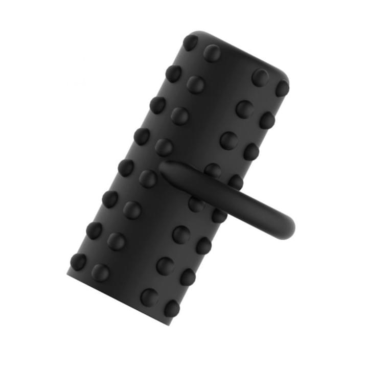 Black finger bullet vibrator with textured surface