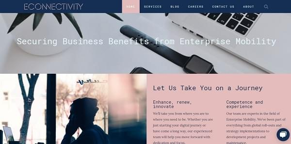 Website of eConnectivity - a client of Inspiringly that provides enterprise mobility services.
