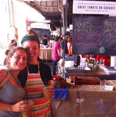 Alexis and Anna at the Great Tomato Un-Cookoff of 2012 - Peoples' Choice Award winner for best dish