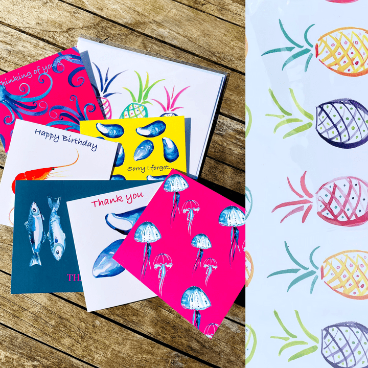indigoprawn cards and wrapping paper