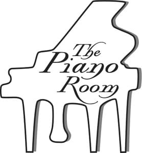 "The Piano Room ""lid open baby grand"" logo"