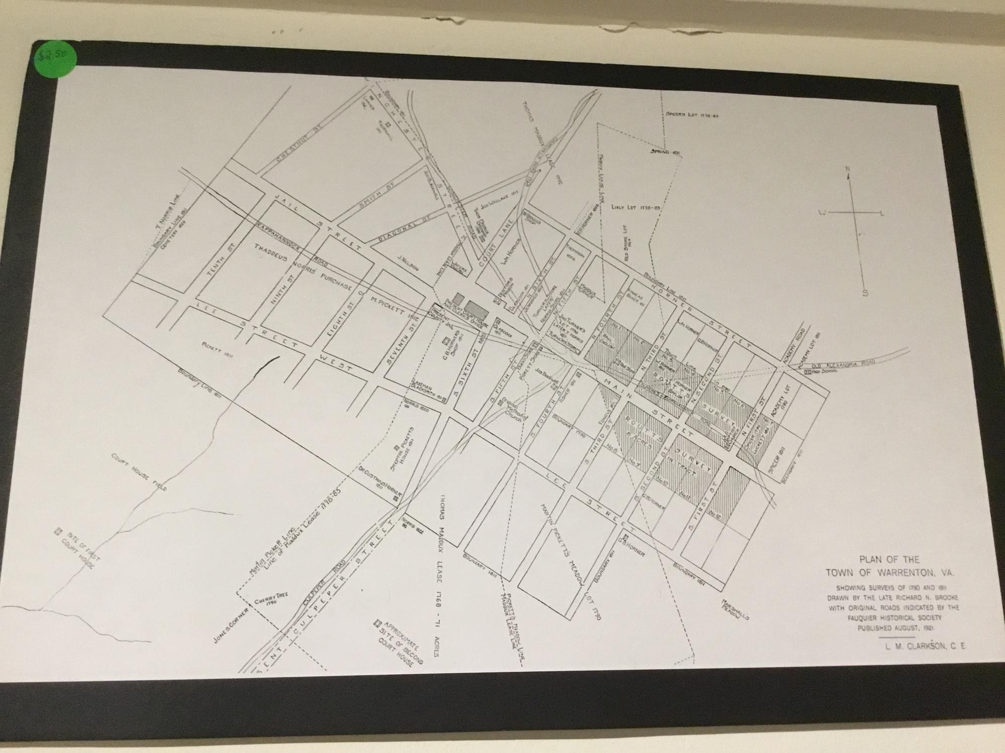 Map of Surveys of 1790 and 1811 of the Town of Warrenton