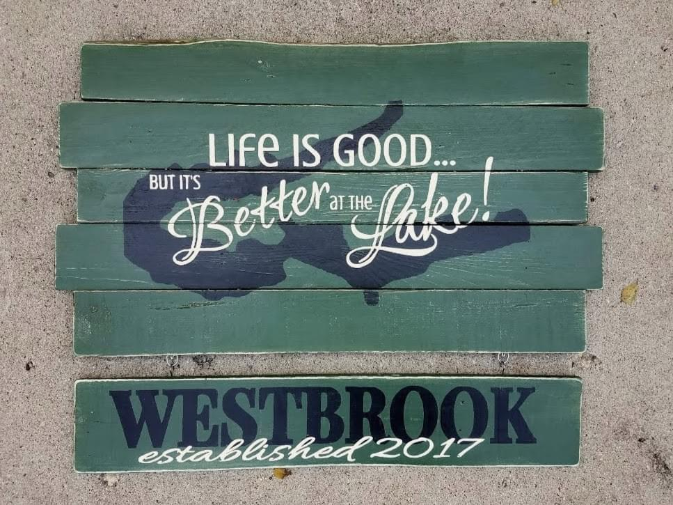 Large Life is Good but it's Better at [Lake Name & Map] Wood Sign + Hanging Name and Established Date