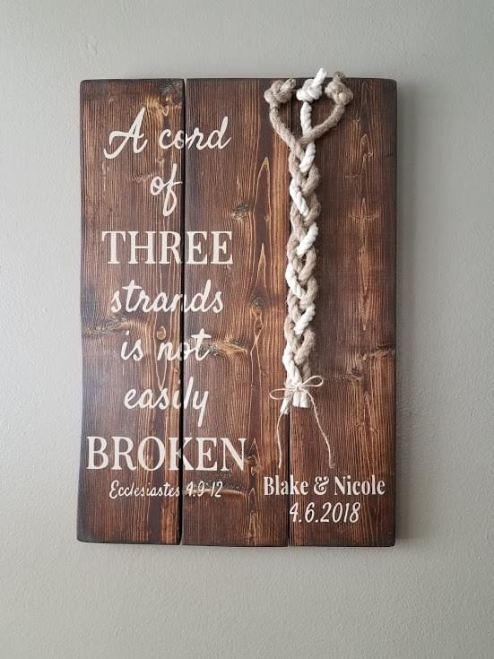 A Cord Of Three Strands Personalized Wood Sign
