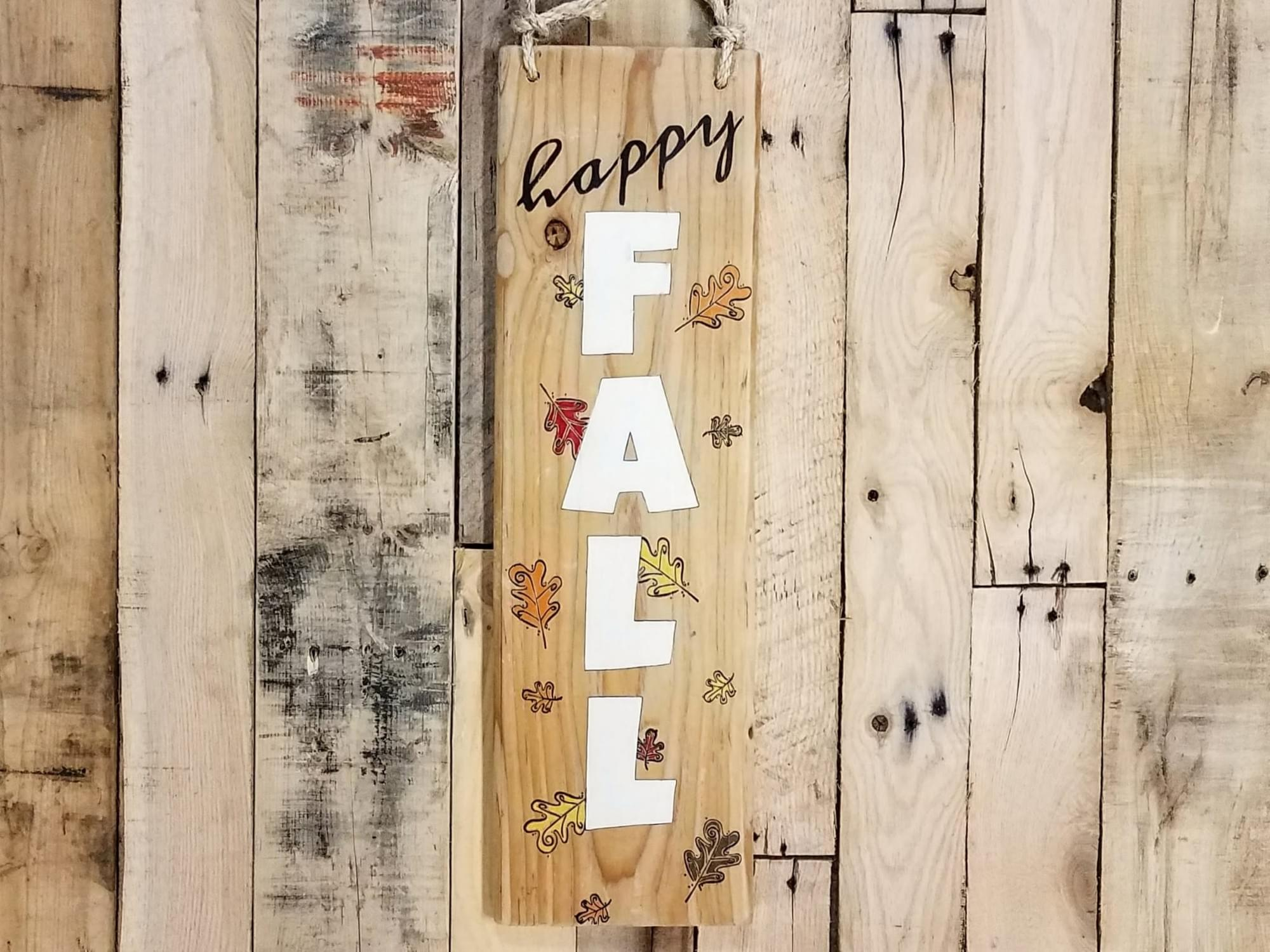 Happy Fall-Vertical Wood Sign