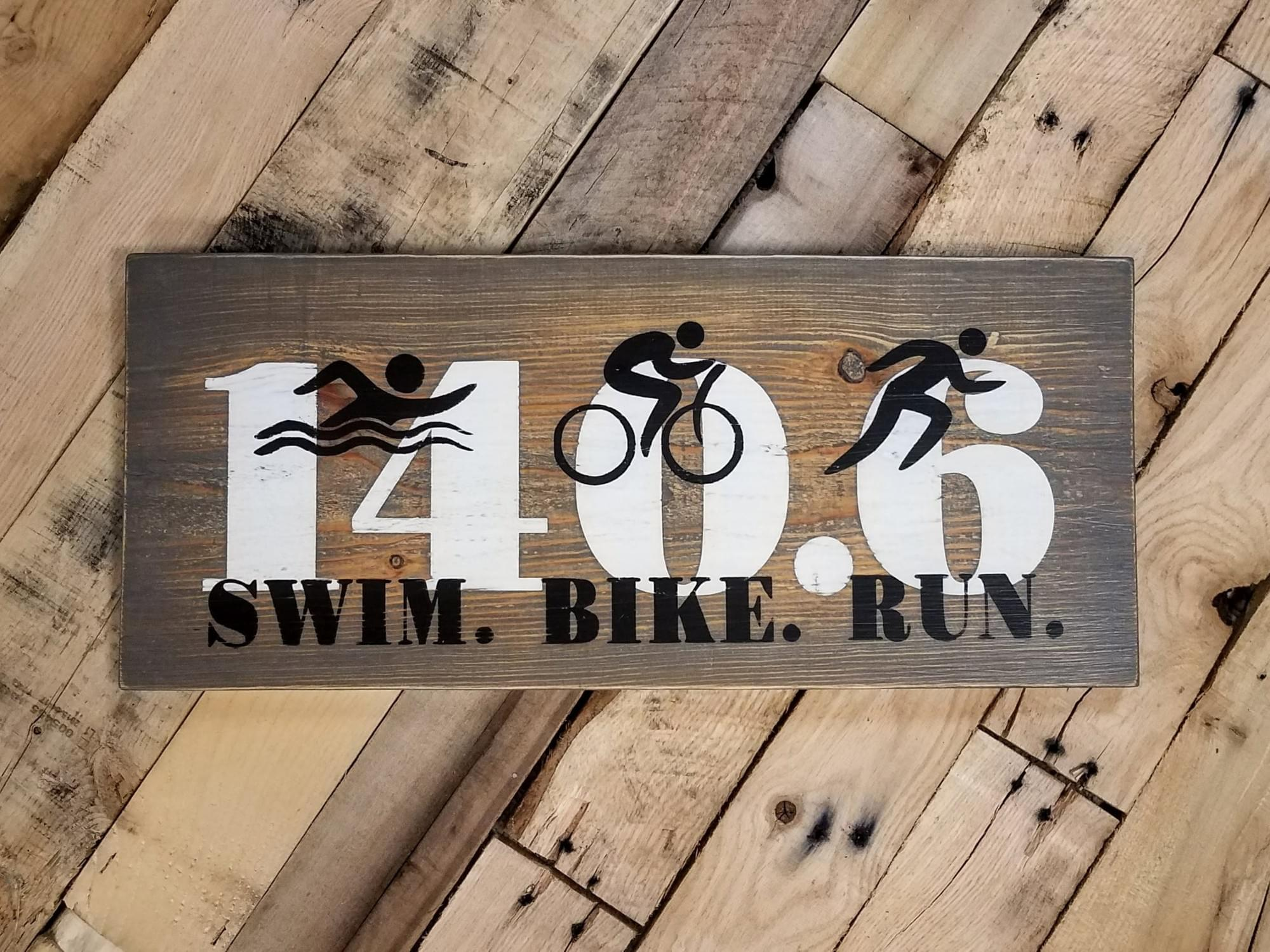 Iron Man Triathlon Wood Sign