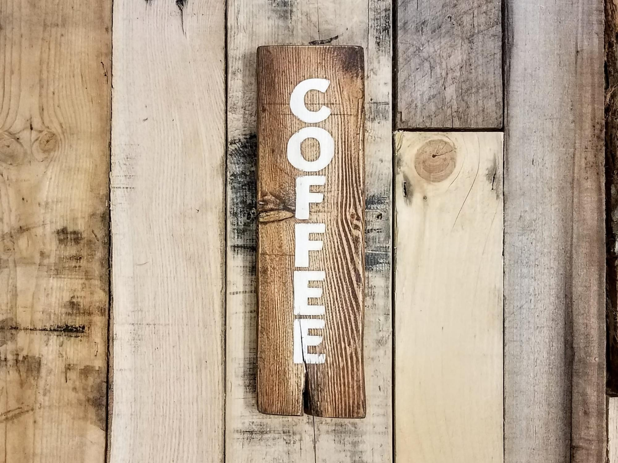 Vertical Coffee Wood Sign - Small