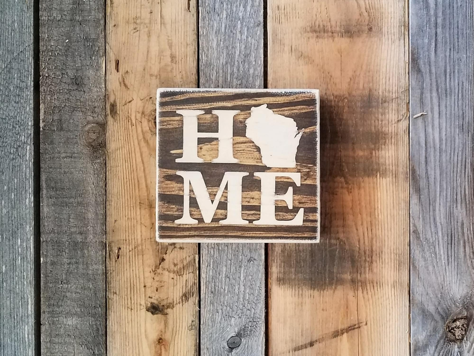 Home State (Wisconsin) Square Wood Shelf-sitter