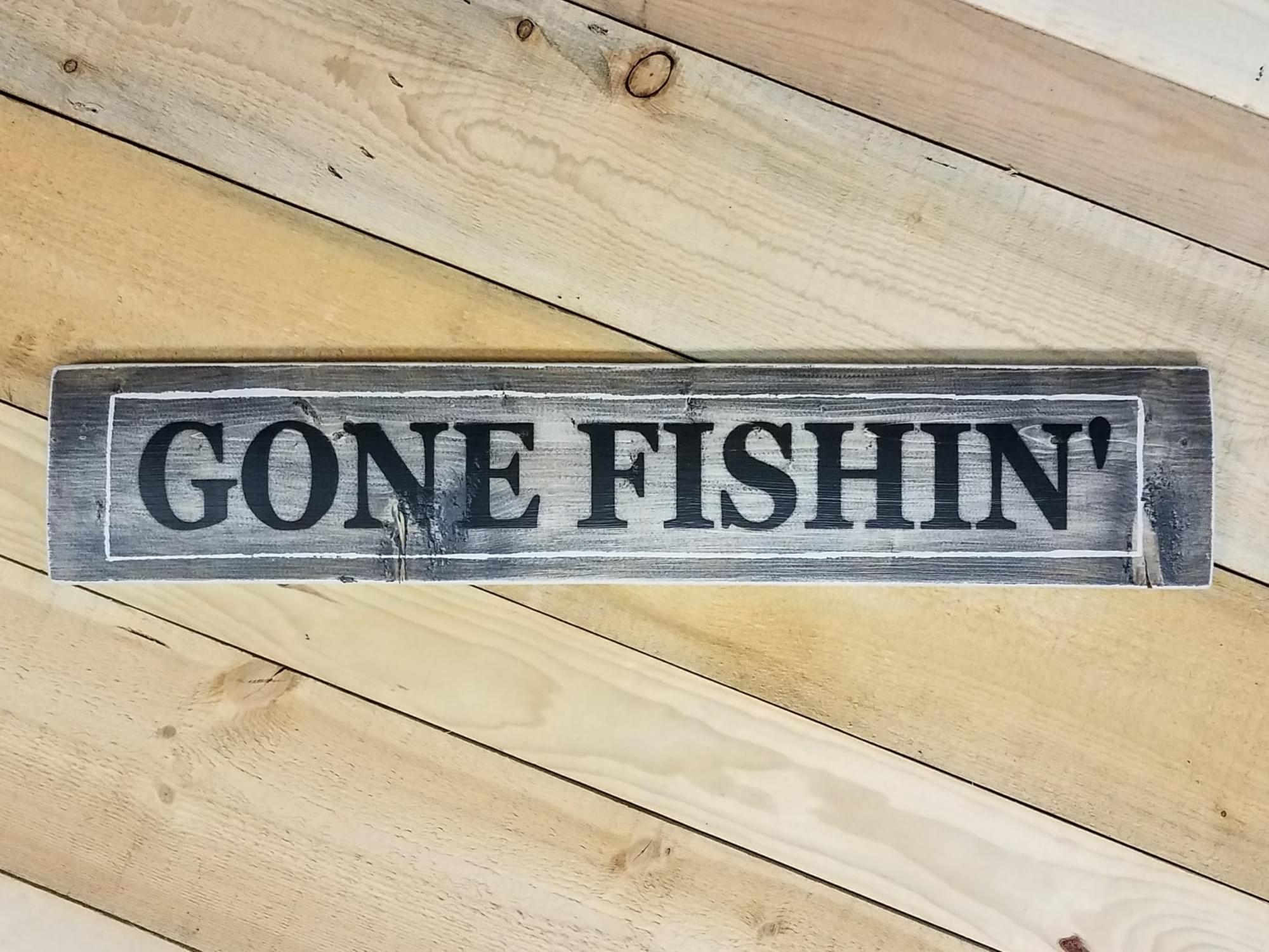 Gone Fishin' Wood Sign