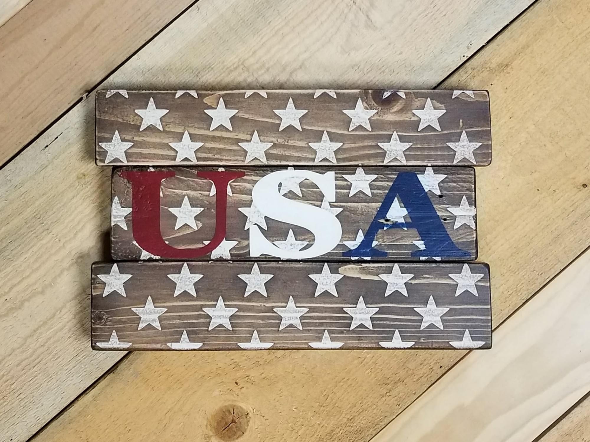 USA Stars Wood Sign