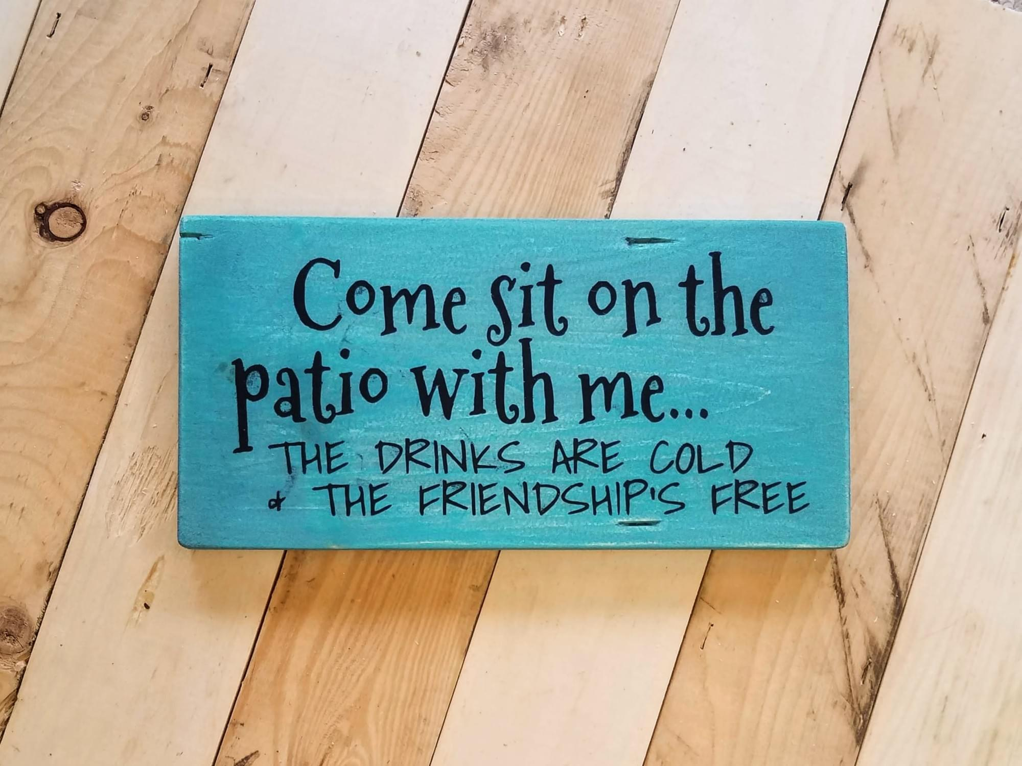 Patio Drinks Wood Sign