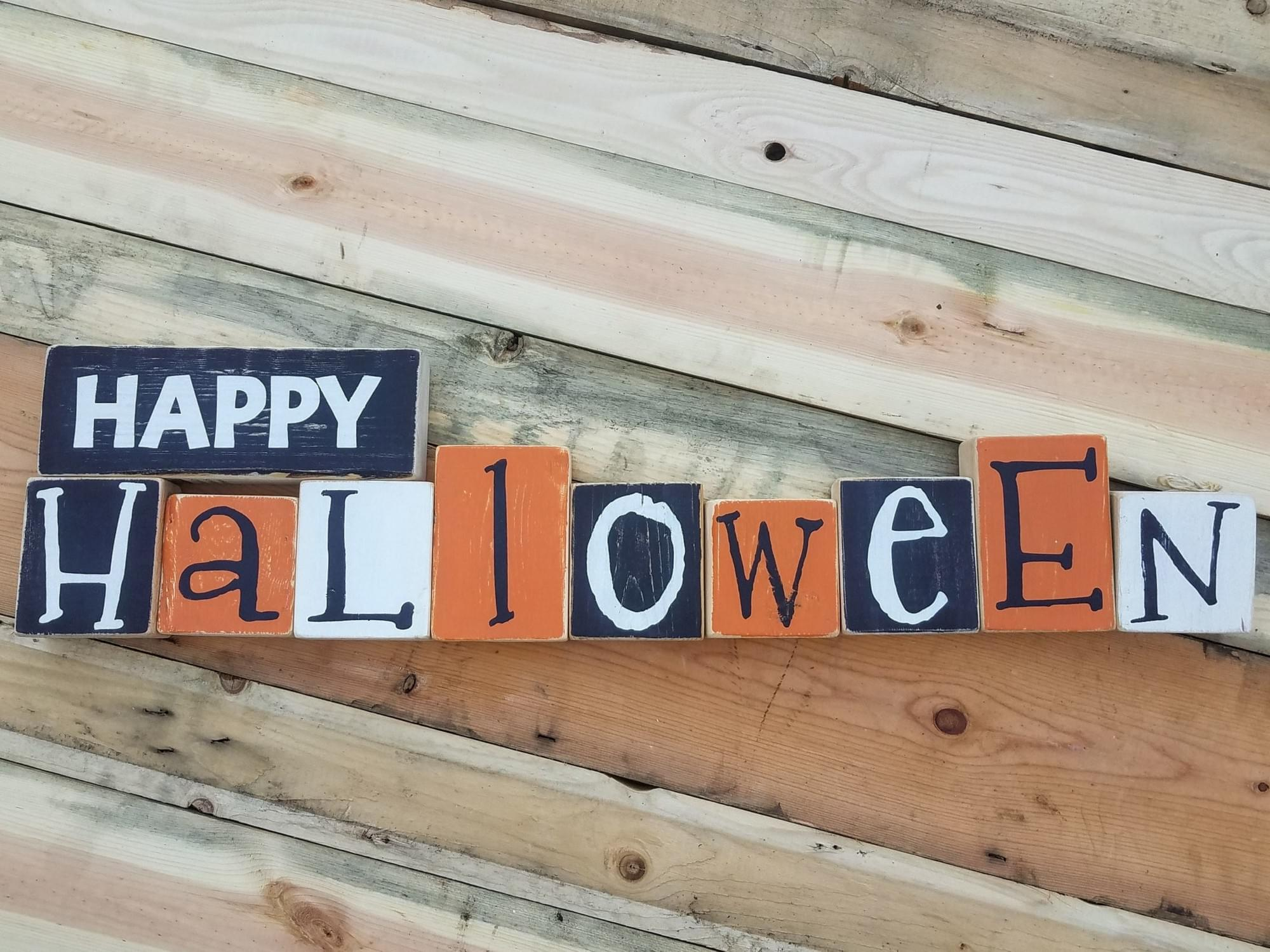 Happy Halloween/Merry Christmas Reversible Wood Blocks