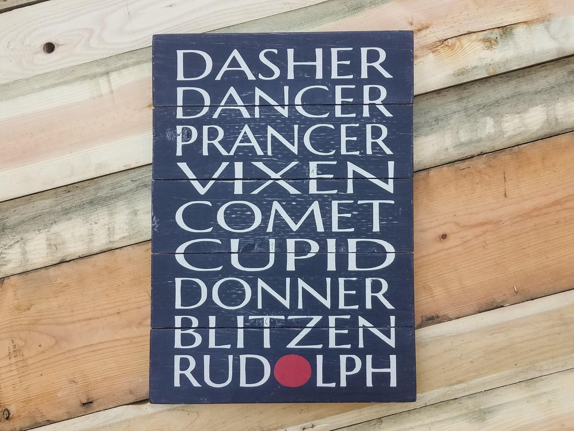 Reindeer Names Wood Sign