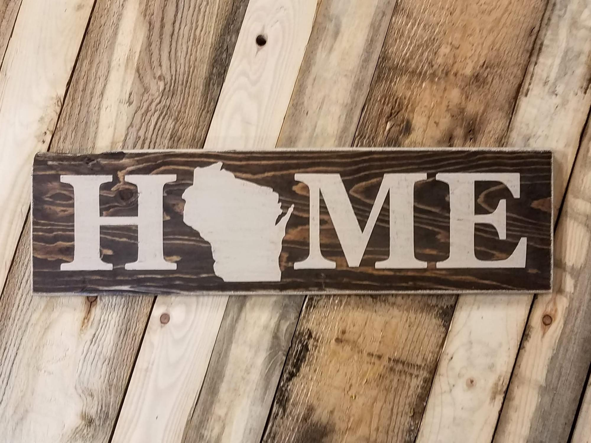 Home State (Wisconsin) Horizontal Wood Sign