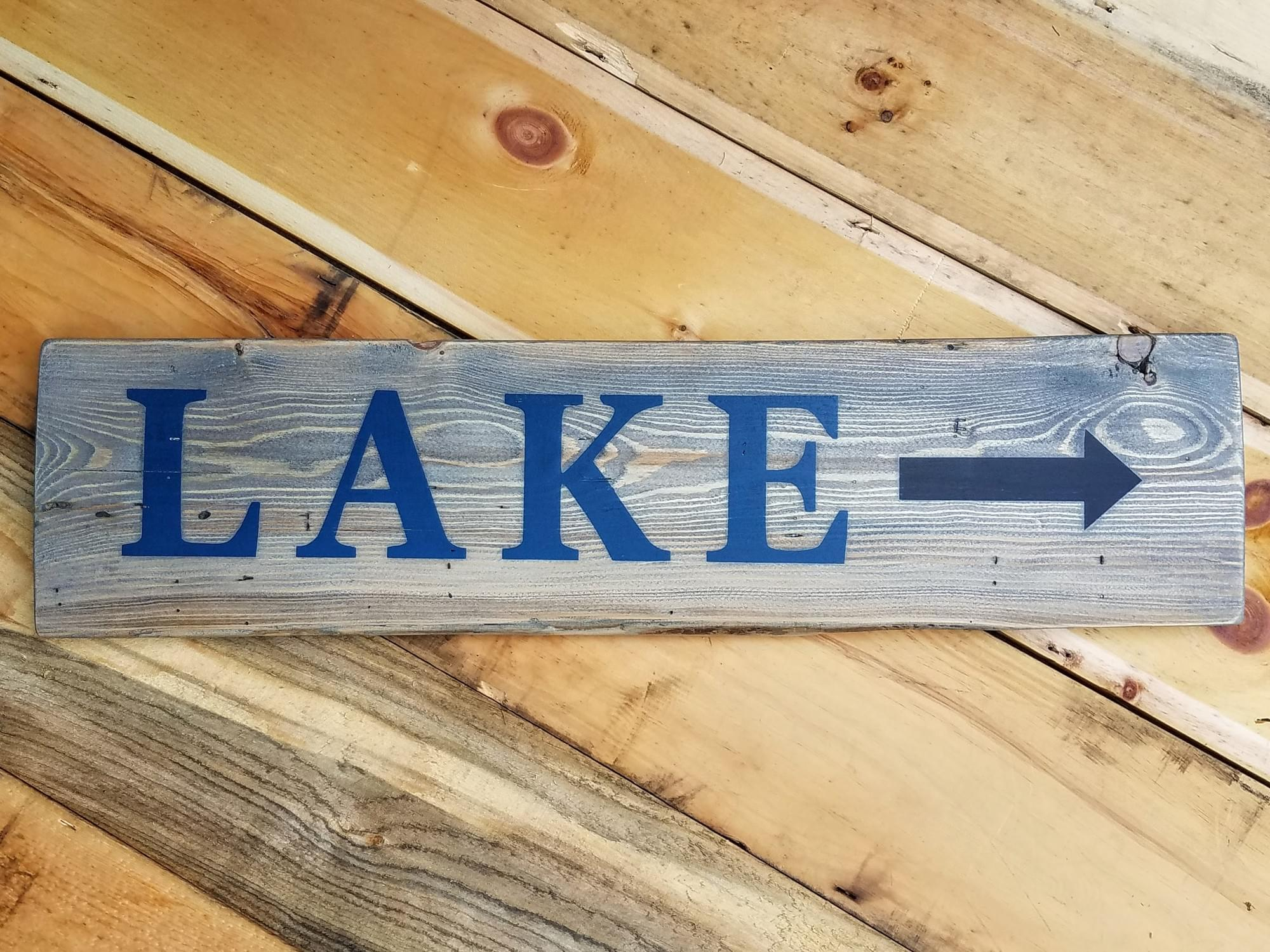 Lake with Arrow - Horizontal Wood Sign