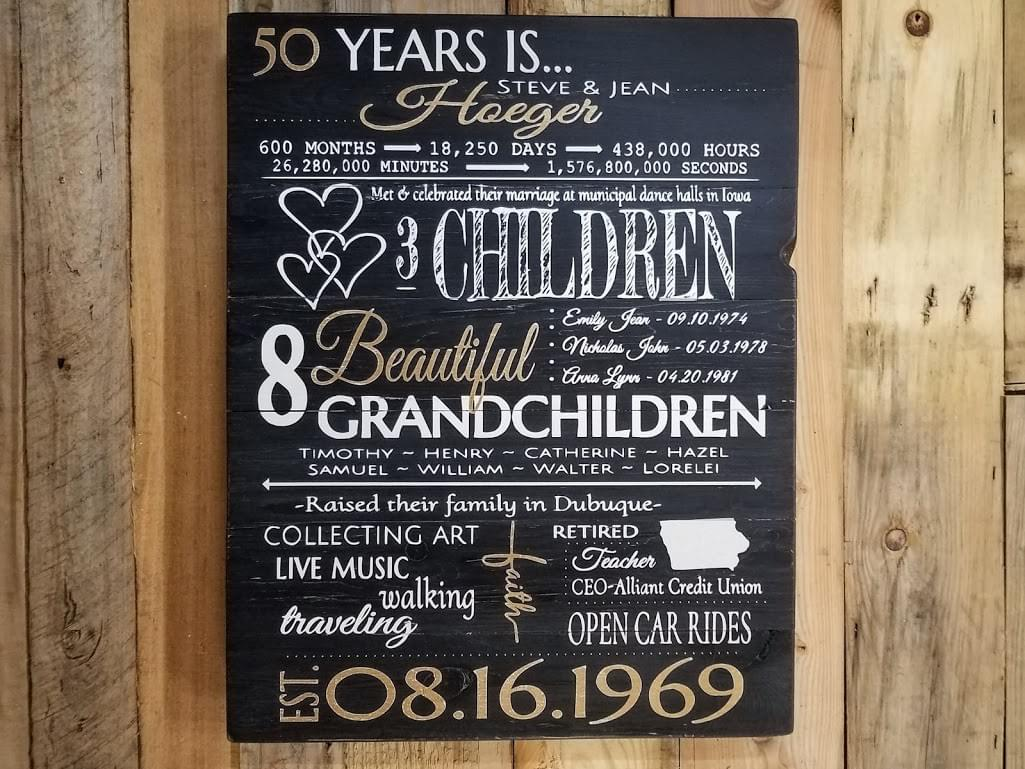 50 Years Anniversary Wood Sign