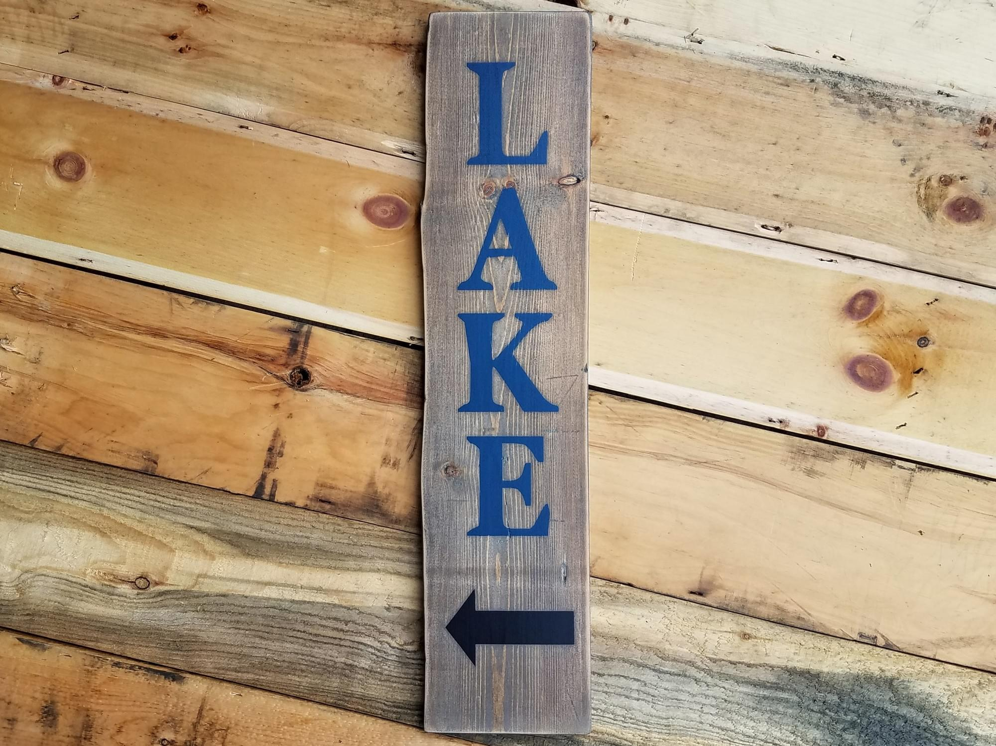 Lake with Arrow - Vertical Wood Sign