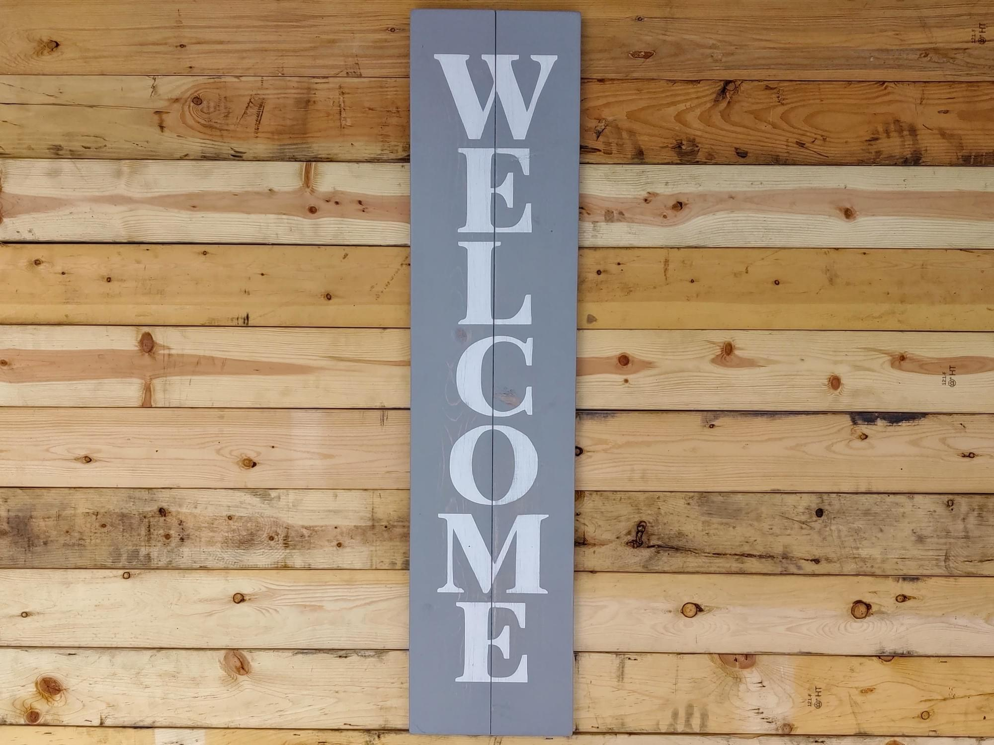 "Welcome - 48"" Vertical Wood Sign"