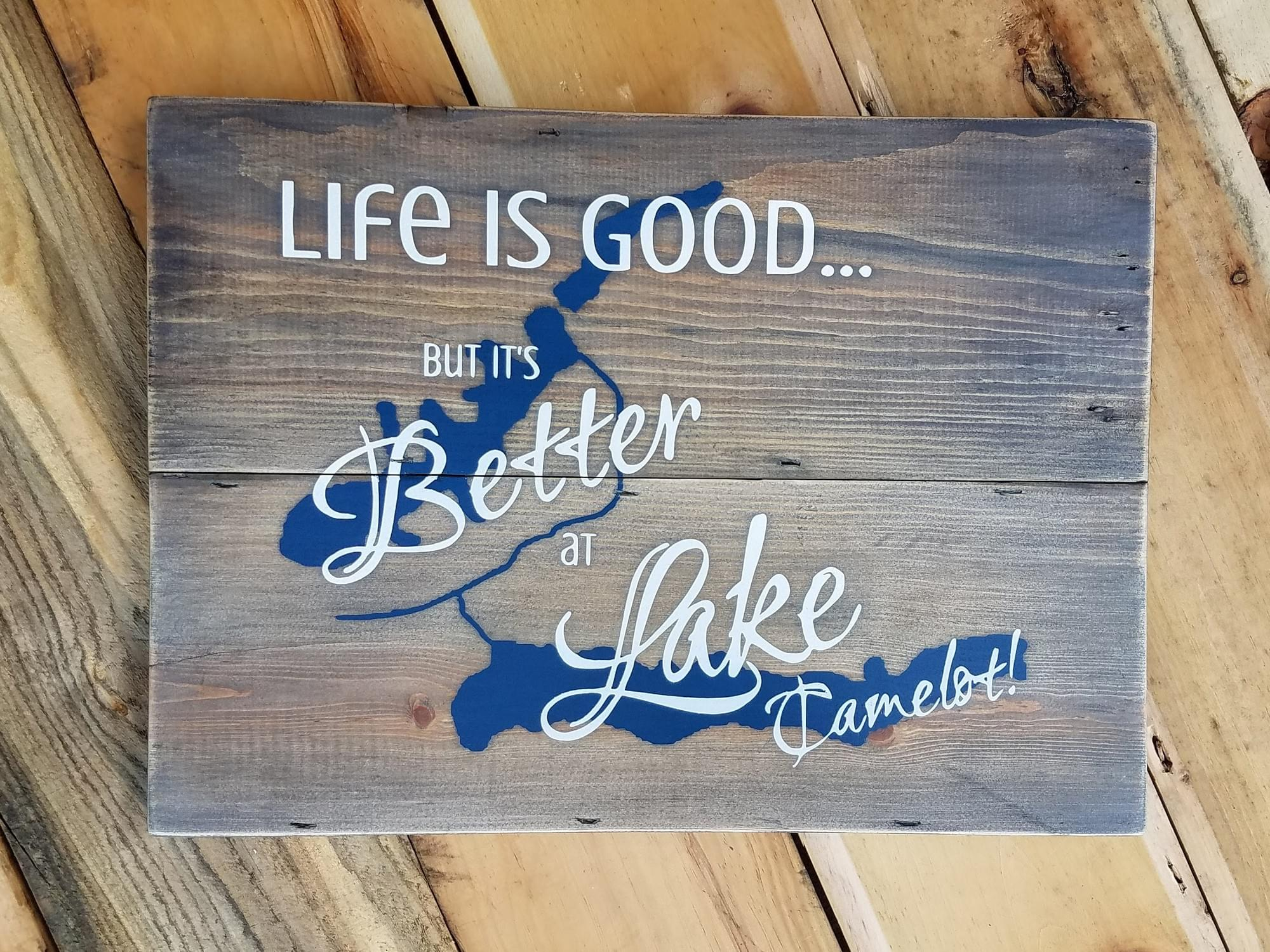 Life is Good... but it's Better at [Lake Name & Map] Wood Sign - Squared Boards