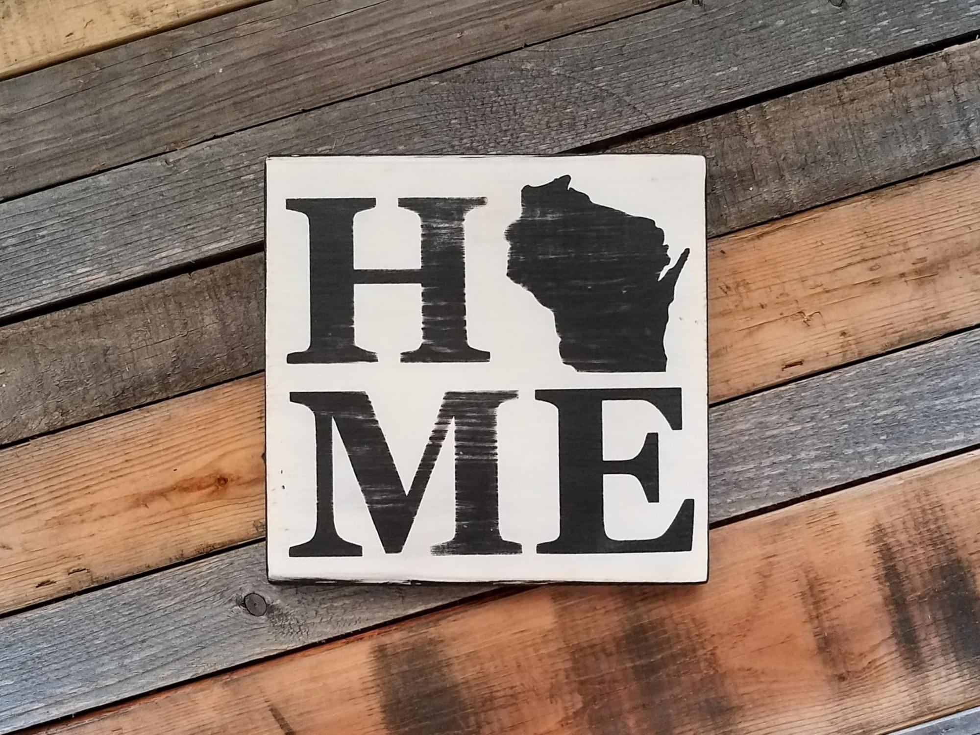 Home State (Wisconsin) Square Wood Sign