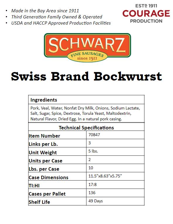 Swiss Brand Bockwurst
