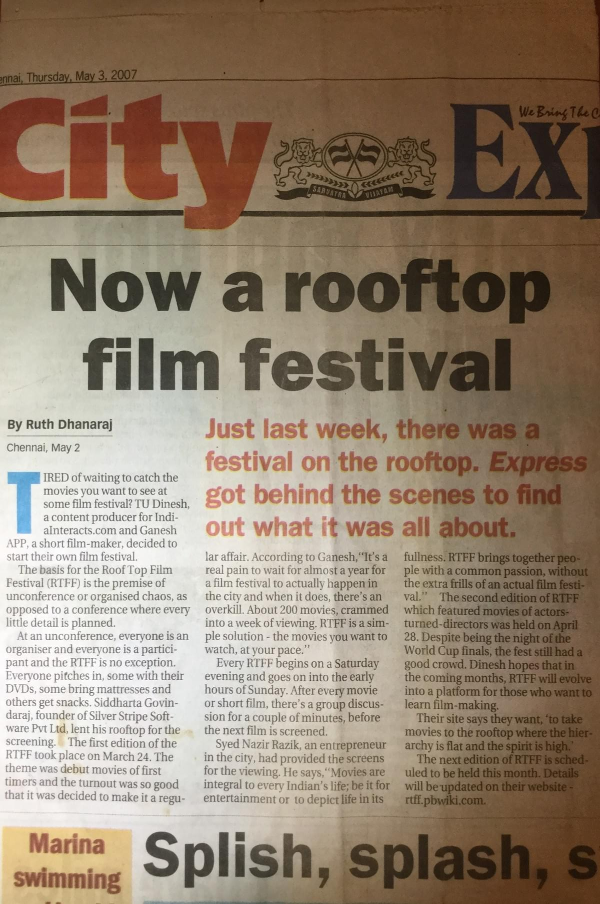 Rooft Top Film Festival covered be City Express, The New Indian Express, Chennai, May 3 2007