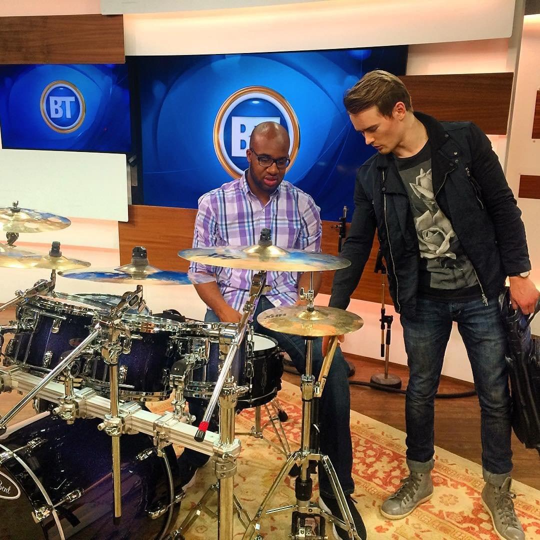 Jake Nicolle teaching drumming on Breakfast TV
