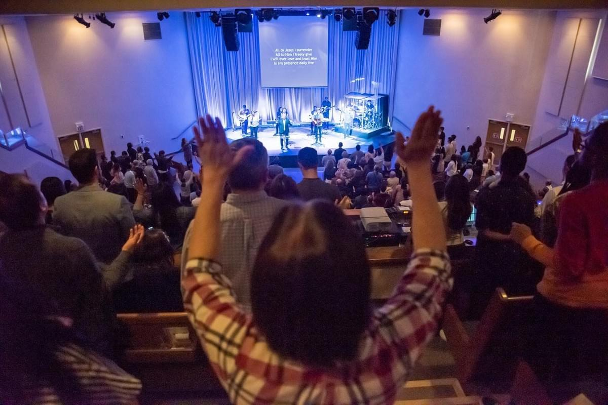 Church service at New Life Christian Church, located in Vaughan, Ontario, Canada