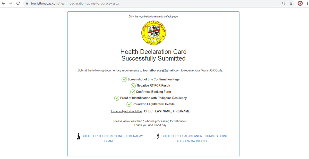 Health Declaration Card