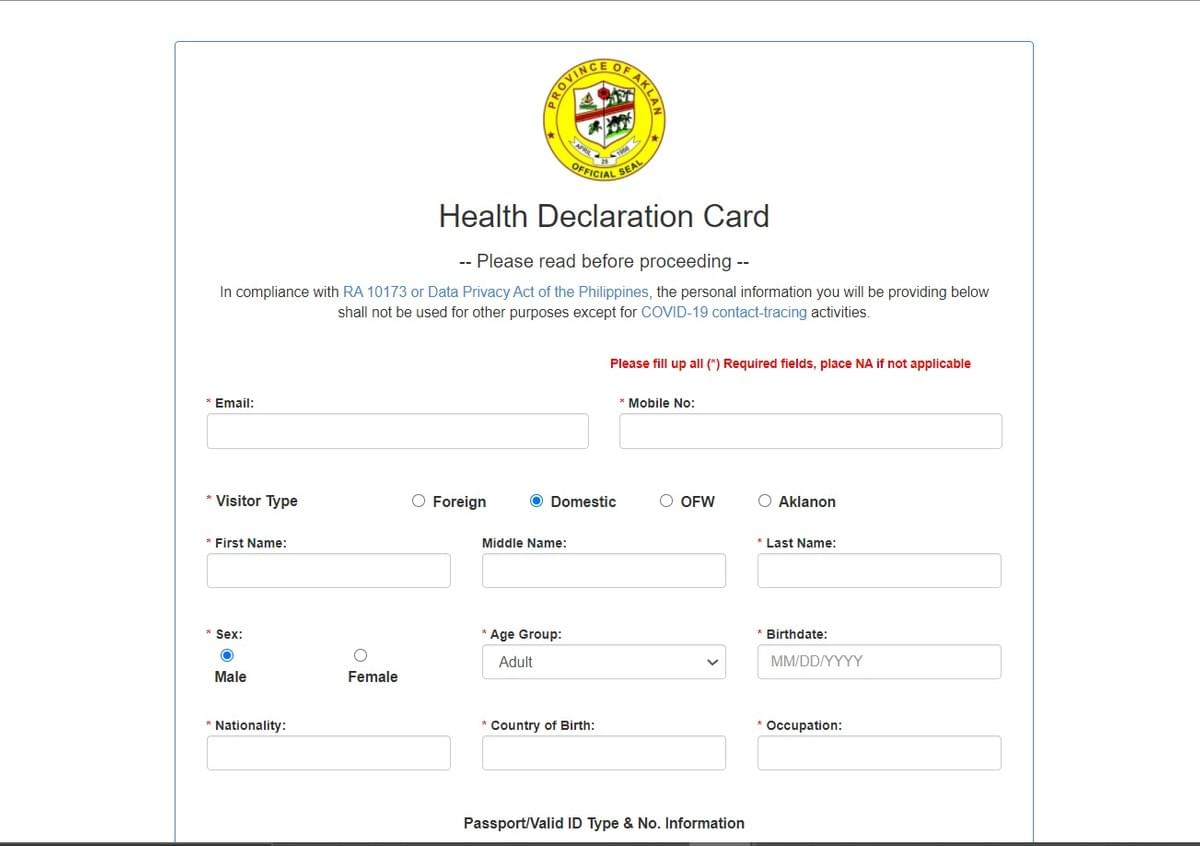 Health Declaration Card going to Boracay